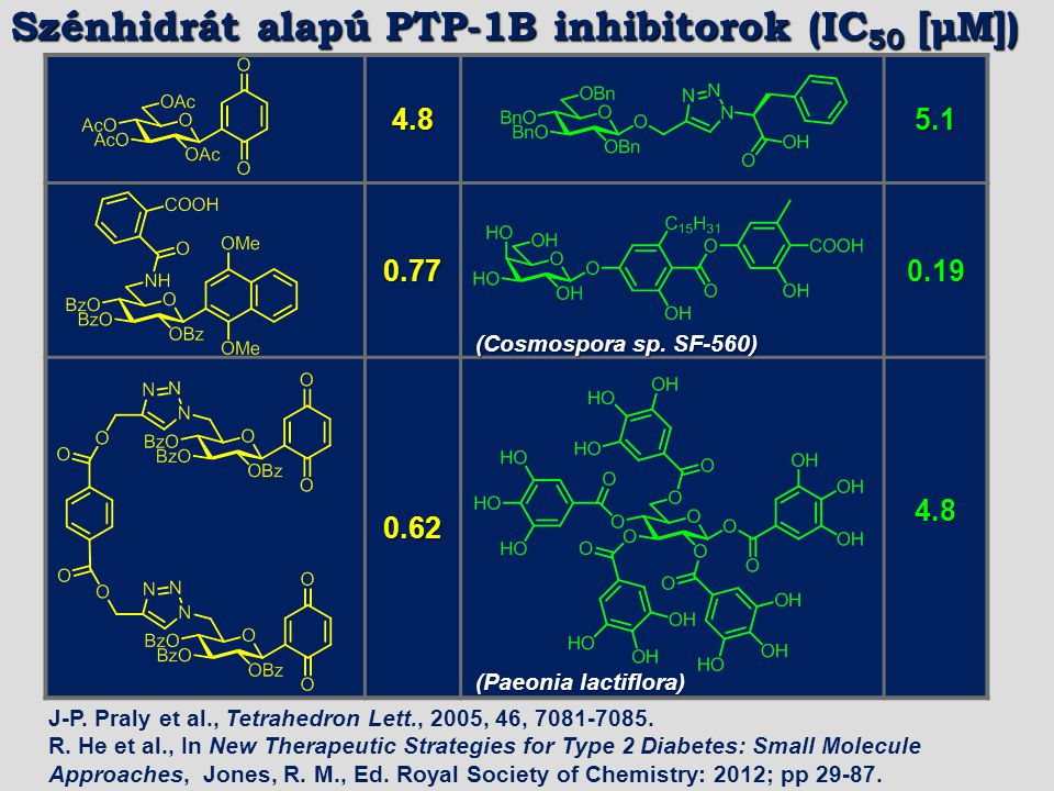 Szénhidrát alapú PTP-1B inhibitorok (IC50 [μM])